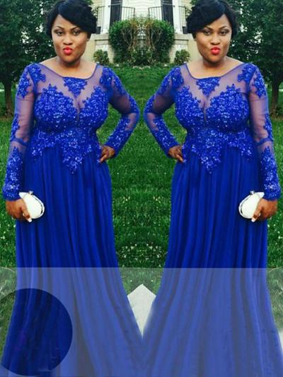 Long Sleeves A-Line/Princess Prom Dresses Scoop Neck Appliques Lace Sweep Train (018212136)