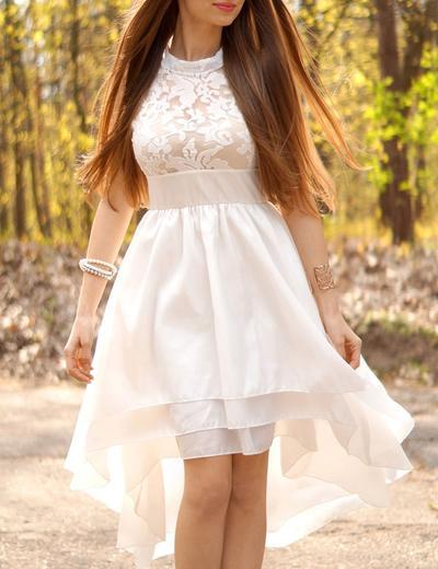 Chic Asymmetrical A-Line/Princess Wedding Dresses High Neck Chiffon Sleeveless (002146257)