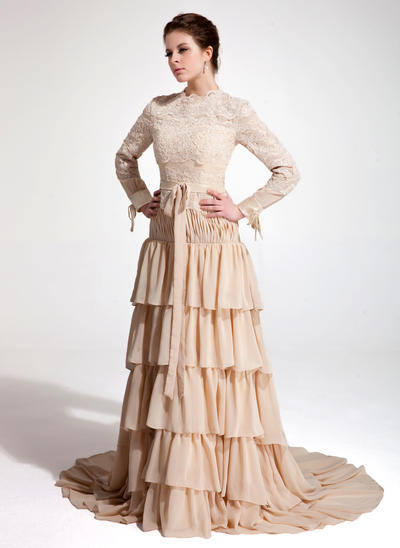 A-Line/Princess High Neck Chiffon Lace Long Sleeves Court Train Bow(s) Cascading Ruffles Evening Dresses (017020660)