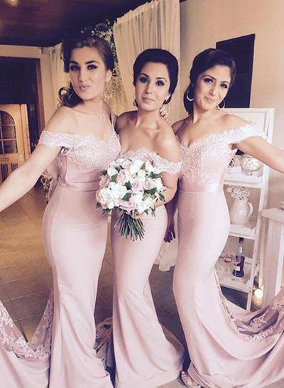 Sleeveless Trumpet/Mermaid Bridesmaid Dresses Off-the-Shoulder Lace Floor-Length (007217954)