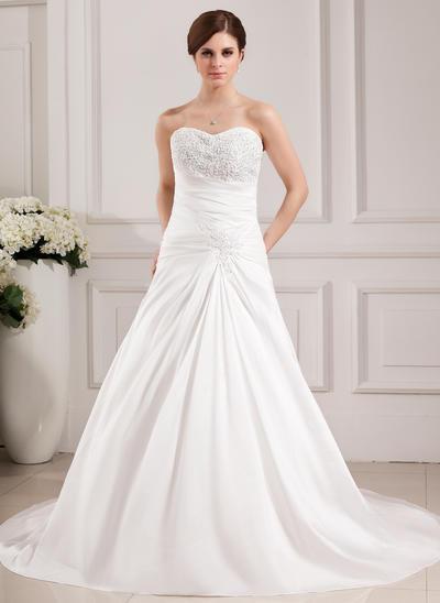 Modern Chapel Train A-Line/Princess Wedding Dresses Sweetheart Taffeta Sleeveless (002000468)
