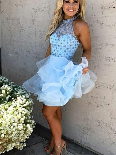 A-Line/Princess High Neck Organza Sleeveless Short/Mini Beading Homecoming Dresses (022212396)