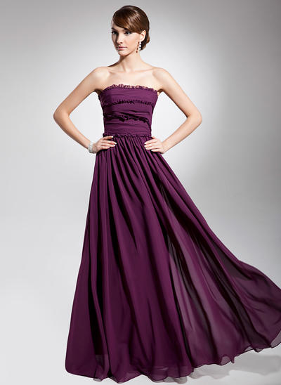 A-Line/Princess Strapless Chiffon Sleeveless Floor-Length Ruffle Evening Dresses (017014692)