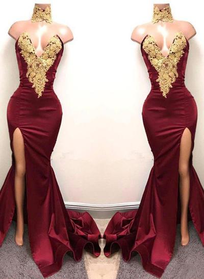 Trumpet/Mermaid Sweetheart Satin Sleeveless Sweep Train Appliques Lace Evening Dresses (017213633)