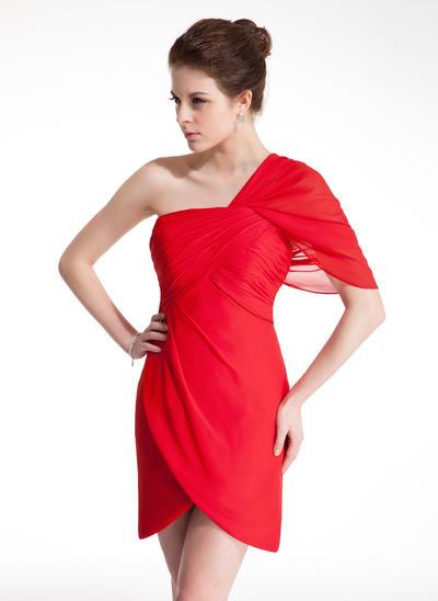 Sheath/Column One-Shoulder Chiffon Sleeveless Short/Mini Ruffle Homecoming Dresses (022009013)