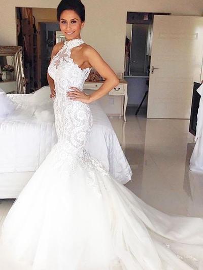 Delicate Court Train Trumpet/Mermaid Wedding Dresses Halter Tulle (002210840)