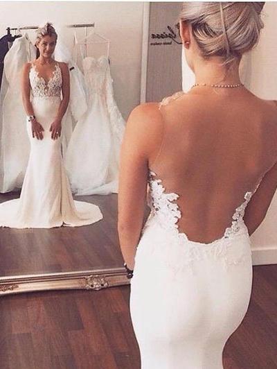 Elegant Court Train Trumpet/Mermaid Wedding Dresses Scoop Charmeuse Sleeveless (002144874)