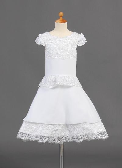 Chic Knee-length A-Line/Princess Flower Girl Dresses Scoop Neck Chiffon Short Sleeves (010015774)