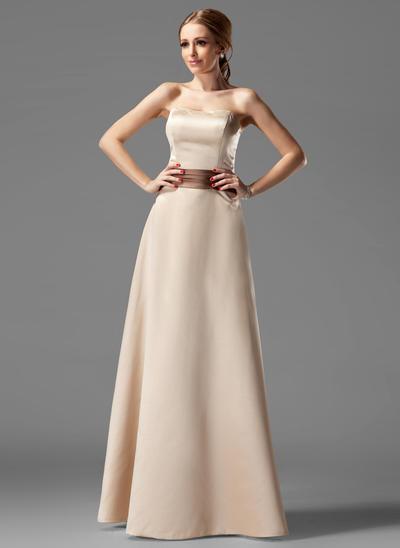 Satin Sleeveless A-Line/Princess Bridesmaid Dresses Strapless Sash Floor-Length (007004115)