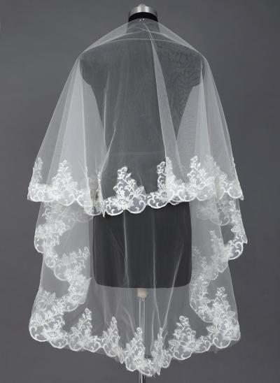 Waltz Bridal Veils Tulle One-tier Mantilla With Lace Applique Edge Wedding Veils (006151590)