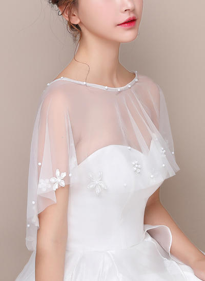 Wrap Wedding Tulle Sleeveless With Lace Wraps (013150171)