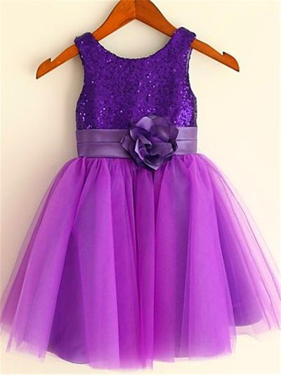 Sexy Tea-length A-Line/Princess Flower Girl Dresses Scoop Neck Tulle/Sequined Sleeveless (010211943)