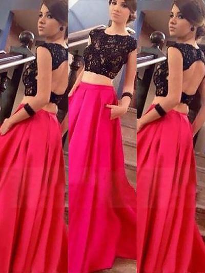 A-Line/Princess Scoop Neck Satin Sleeveless Floor-Length Lace Evening Dresses (017210890)