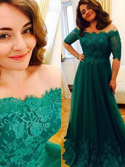 Tulle 1/2 Sleeves A-Line/Princess Prom Dresses Off-the-Shoulder Appliques Lace Floor-Length (018210350)