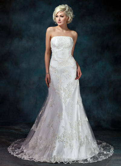 2019 New Court Train Trumpet/Mermaid Wedding Dresses Strapless Tulle Sleeveless (002000368)