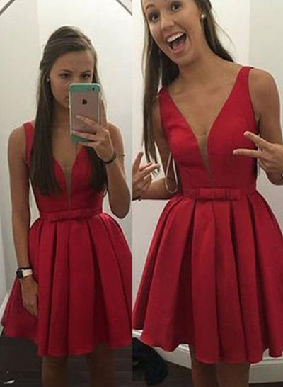 A-Line/Princess V-neck Satin Sleeveless Short/Mini Bow(s) Homecoming Dresses (022212330)