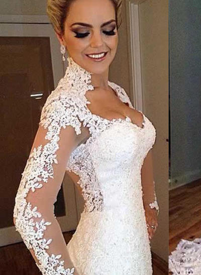Sweetheart Sweep Train Trumpet/Mermaid Wedding Dresses V-neck Lace Long Sleeves (002147924)