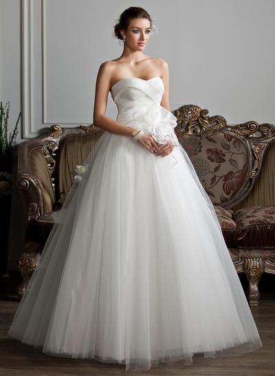 Modern Floor-Length Ball-Gown Wedding Dresses Sweetheart Organza Tulle Sleeveless (002211343)