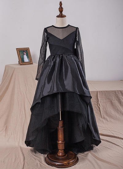 Beautiful Knee-length Ball Gown Flower Girl Dresses Scoop Neck Taffeta/Tulle/Lace Long Sleeves (010212165)