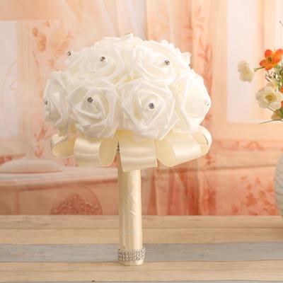 "Bridal Bouquets Round Wedding Satin/PE 10.24""(Approx.26cm) Wedding Flowers (123189055)"