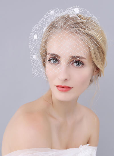 Blusher Veils Tulle One-tier With Satin Flower Ivory Wedding Veils (006152013)