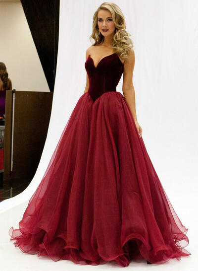 Tulle Sleeveless A-Line/Princess Prom Dresses Sweetheart Floor-Length (018147003)