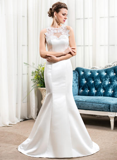 Sexy Sweep Train Trumpet/Mermaid Wedding Dresses Scoop Satin Sleeveless (002210569)