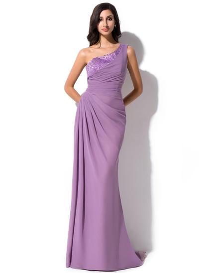 Sheath/Column One-Shoulder Chiffon Sleeveless Sweep Train Ruffle Beading Sequins Evening Dresses (017052639)