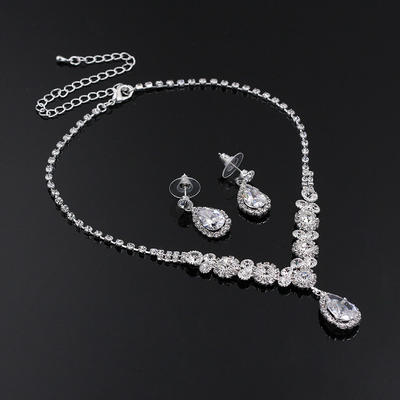 Jewelry Sets Alloy/Rhinestones Rhinestone Lobster Clasp Pierced Wedding & Party Jewelry (011167874)