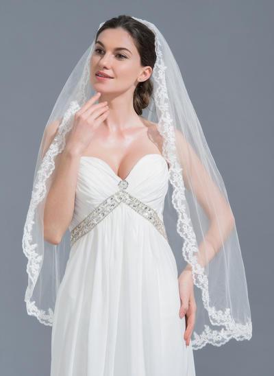 Fingerspitze Braut Schleier Tüll Einschichtig Ovale mit Spitze Saum Brautschleier (006152119)