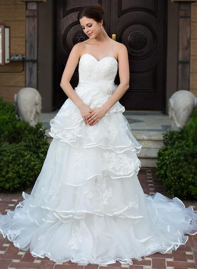 Luxurious Chapel Train A-Line/Princess Wedding Dresses Sweetheart Satin Organza Sleeveless (002210508)