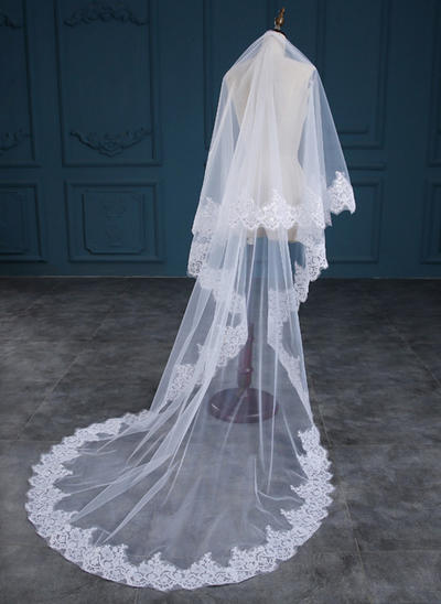 Cathedral Bridal Veils Tulle One-tier Oval With Lace Applique Edge Wedding Veils (006152177)