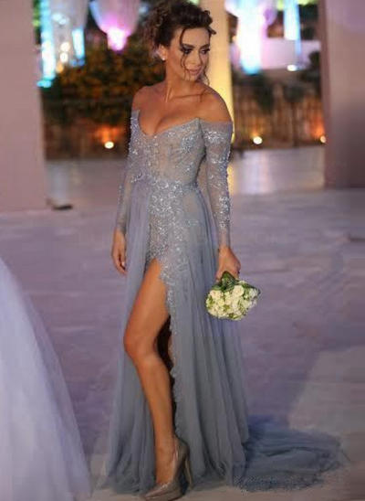 A-Line/Princess Off-the-Shoulder Tulle Long Sleeves Sweep Train Beading Sequins Split Front Evening Dresses (017210027)