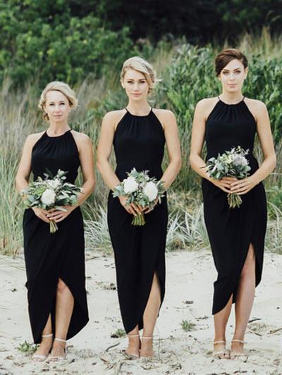 Chiffon Sleeveless Sheath/Column Bridesmaid Dresses Scoop Neck Ruffle Asymmetrical (007145182)