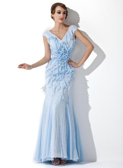 Trumpet/Mermaid V-neck Sequined Sleeveless Floor-Length Beading Flower(s) Cascading Ruffles Evening Dresses (017201513)