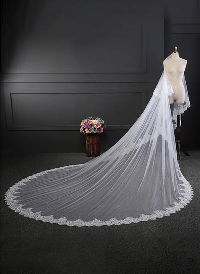 Cathedral Bridal Veils Tulle Two-tier Oval With Lace Applique Edge Wedding Veils (006152160)