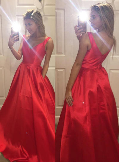 Satin Sleeveless A-Line/Princess Prom Dresses V-neck Ruffle Sweep Train (018210208)