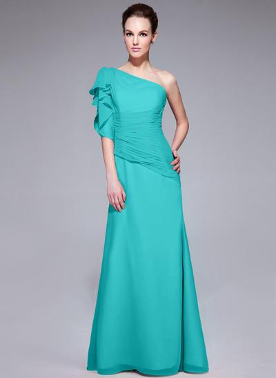 Trumpet/Mermaid One-Shoulder Chiffon Short Sleeves Floor-Length Ruffle Cascading Ruffles Evening Dresses (017062985)