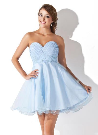 Empire Sweetheart Chiffon Tulle Sleeveless Short/Mini Ruffle Beading Sequins Homecoming Dresses (022008933)