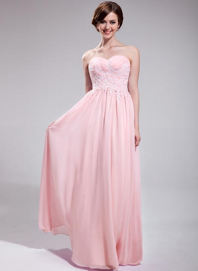 Chiffon Sleeveless A-Line/Princess Prom Dresses Sweetheart Ruffle Beading Appliques Lace Sequins Floor-Length (018025623)