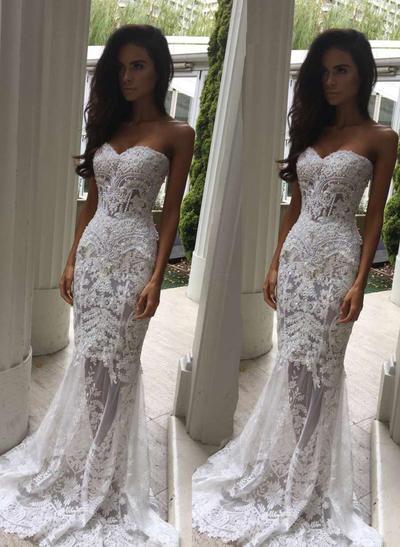 Chic Sweep Train Trumpet/Mermaid Wedding Dresses Sweetheart Lace Sleeveless (002146251)