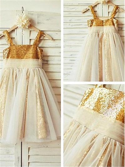 Fashion Tea-length A-Line/Princess Flower Girl Dresses Square Neckline Tulle/Sequined Sleeveless (010212023)