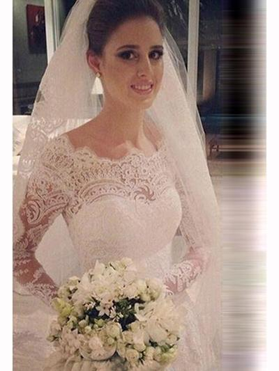 Modern Cathedral Train Trumpet/Mermaid Wedding Dresses Scoop Tulle Lace Long Sleeves (002144827)