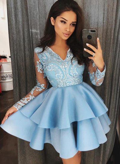 A-Line/Princess V-neck Satin Long Sleeves Short/Mini Appliques Lace Homecoming Dresses (022212436)