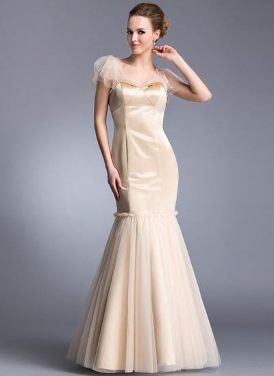 Trumpet/Mermaid V-neck Satin Tulle Short Sleeves Floor-Length Cascading Ruffles Evening Dresses (017201275)