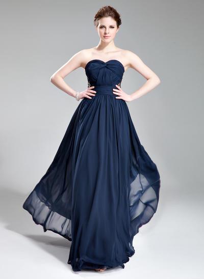 A-Line/Princess Sweetheart Chiffon Sleeveless Floor-Length Ruffle Beading Evening Dresses (017019741)