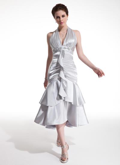 A-Line/Princess Halter Charmeuse Sleeveless Tea-Length Beading Cascading Ruffles Cocktail Dresses (016021207)