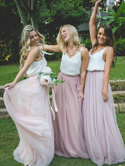 Chiffon Tulle Sleeveless A-Line/Princess Bridesmaid Dresses V-neck Floor-Length (007145124)
