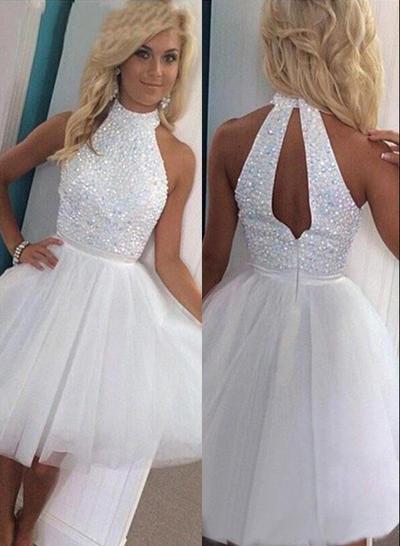 A-Line/Princess High Neck Tulle Sleeveless Knee-Length Homecoming Dresses (022212304)