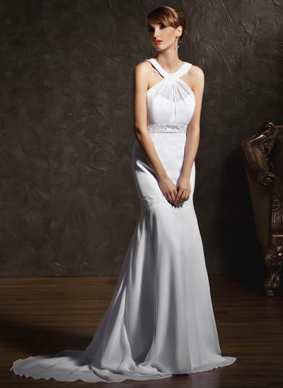 Stunning Court Train Trumpet/Mermaid Wedding Dresses Scoop Chiffon Sleeveless (002196854)
